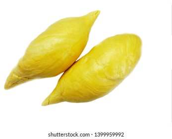 Durian fruit flesh isolated on white background. Named in some regions as the king of fruits.