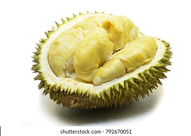Durian fruit isolated on white background.The durian is distinctive for its large size strong odour and formidable thorn-covered rind.