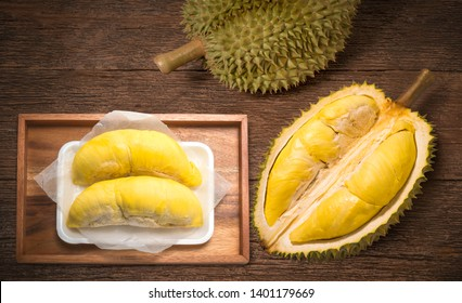Durian fruit on wooden background,Durian the King of fruits,