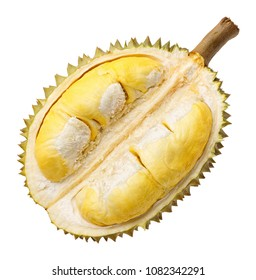 Durian fruit portion isolated on white background