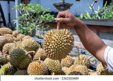 Durian fruit for sell in the local market, island Bali, Indonesia. Close up