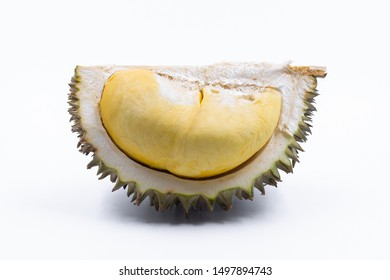 Durian fruit slices from Thailand The bark is thick, spiky. The inside is smooth and soft like cream.