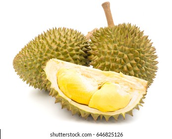 Durian is a fruit that has been referred to as the king of fruits of South East Asia. Durian on white background.
