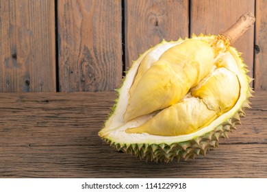 Durian is the king of fruit on wood background