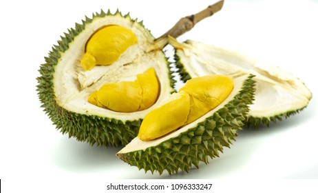 Durian, king of fruits. Durian on white background isolated. Yummy yellow durian ripped. Tropical Thai fruit.