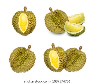 Durian King of fruits,durian fruit with delicious golden yellow soft flesh,durian isolated on white background,durian isolated for packaging design.