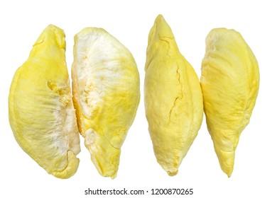 Durian peeled isolated on white background