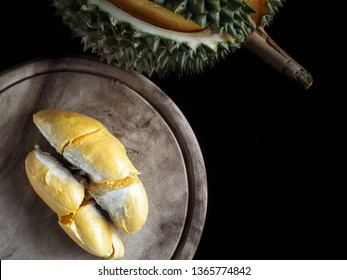 Durian tropical fruit on black background