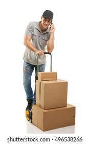 During a call - Courier hand truck boxes and packages