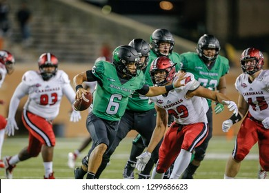 during a Division I football game between the Incarnate Word Cardinals and University of North Texas Mean Green on September 8, 2018,   at Apogee Stadium, Denton, Texas.