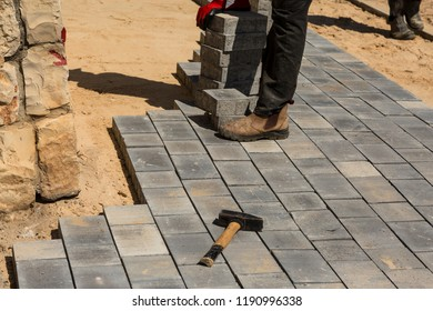 During the laying of bricks new pavement