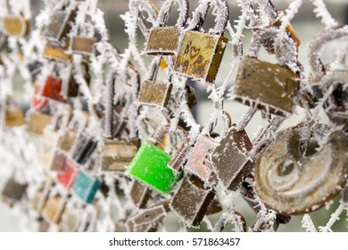During the misty winter days the fog freezes on these love locks attached to the bridges. The locks symbolize the eternal love and with the romantic ice it is a  love frozen in time.