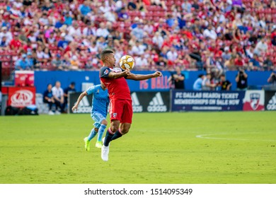 during a MLS match between New York FC and FC Dallas September 22, 2019, at Toyota Stadium, Frisco, Texas. NYCFC and FC Dallas tied 1-1.