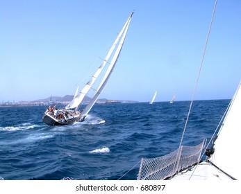 during a regatta in Canaries