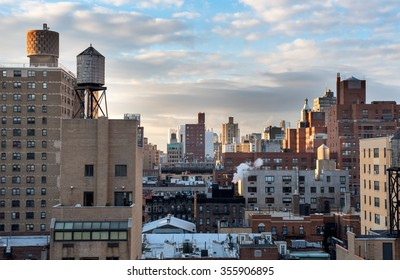 During sunrise the rooftops of Manhattan were bathing in a beautiful light