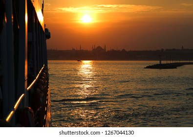 During the sunset ferryboat and historical peninsula, Istanbul, Turkey. This picture was taken from the Kadikoy District.