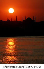 During the sunset historical peninsula and Hagia Sofia, Istanbul, Turkey. This picture was taken from the Kadikoy District.