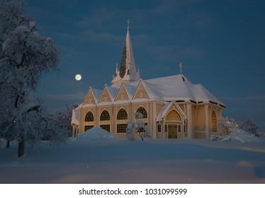 during winter in Lapland, Sweden, Norrbotten, Arvidsjaur church