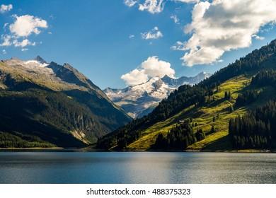 Durlassboden reservoir in the Zillertal Alps, Austria