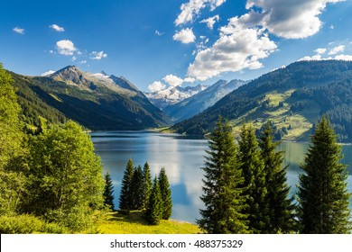 Durlassboden reservoir in the Zillertal Alps, Austria