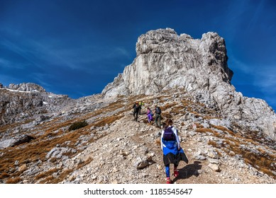 Durmitor, Montenegro- October 14, 2017: Group of people hiking on the Mountains in National Park Durmitor, Montenegro