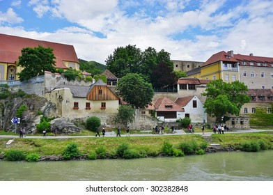 DURNSTEIN, AUSTRIA -25 JULY 2015- The medieval town of Durnstein along the Danube River in the picturesque Wachau Valley, a UNESCO World Heritage Site, in Lower Austria.