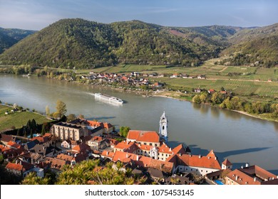 Durnstein village during spring time in Wachau, Austria