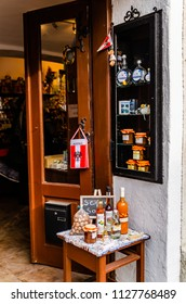 Durnstein, Wachau / Austria 01.03.2014: One of the small shops in town selling homemade products from region like vine.