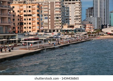 Durres / Albania - 08 May 2018: The waterfront of of the Adriatic sea in Durres, Albania