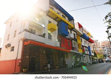 Durres Albania - 14 August 2017 : Colorful building not far from the port Durres Albania - long exposure