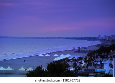 Durres, Albania. April 2019: Scenic sunset over the sandy beach in Golem.