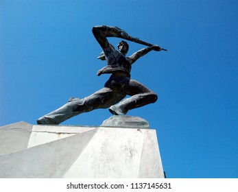 DURRES, ALBANIA - JULY 4, 2018: Resistance - monument to the armed struggle of the Albanian people against the fascist occupation of Italy on April 7, 1939.