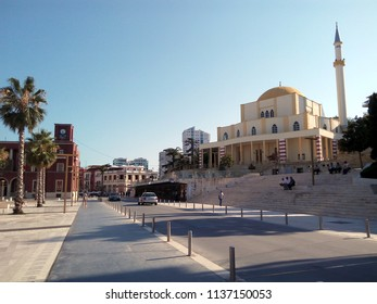 DURRES, ALBANIA - JULY 4, 2018: The Grand Mosque of Durrës (Albanian: Xhamia e Madhe) or New Mosque (Xhamia e Re) is a historic Albanian Mosque in the port-town of Durres.