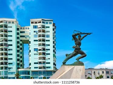 Durres, Albania - June 1, 2018: The Soviet monument in Durres, Albania.