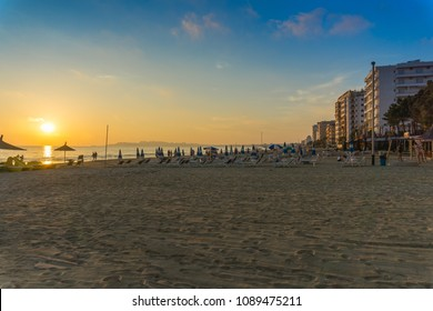 Durres / Albania - May 2018 - View from Durres beach. Blue sky and water of Adriatic Sea.