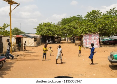 Durumi/Abuja/Nigeria/14.Apr.2018: Children playing outside Wooden makeshift place of Internally Displaced Persons in Abuja, the Federal Capital of Nigeria.