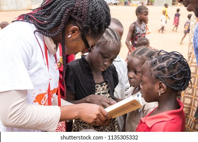 Durumi/Abuja/Nigeria/14.Apr.2018: Children reading and living in the wooden makeshift place of Internally Displaced Persons in Abuja, the Federal Capital of Nigeria.