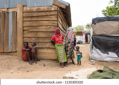 Durumi/Abuja/Nigeria/14.Apr.2018: Women outside the wooden makeshift place of Internally Displaced Persons in Abuja, the Federal Capital of Nigeria.