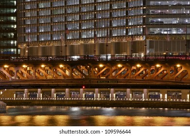 DuSable Bridge in Chicago - Bridge Closeup at Night. Downtown Chicago, Illinois, USA.