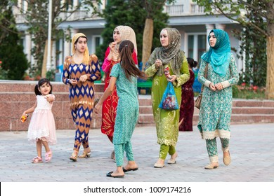 DUSHANBE, TAJIKISTAN - CIRCA JUNE 2017: Dushanbe residents on the streets of the city circa June 2017 in Dushanbe.