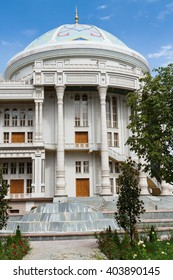 "DUSHANBE, TAJIKISTAN - JULY 25, 2015: Cultural and entertainment center ""Takht Nowruz"" (Throne of Nowruz) in Dushanbe. Tajikistan. The building is called The tea house."