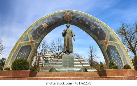 DUSHANBE,TAJIKISTAN-MARCH 15,2016; The Monument of Rudaki in the centre of city