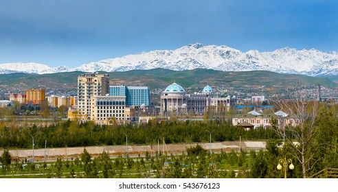 DUSHANBE,TAJIKISTAN-MARCH 15,2016;View on the central square of  Dushanbe, Tajikistan