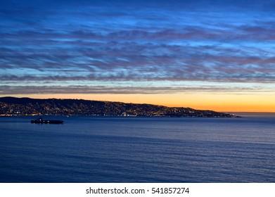 Dusk along the harbor of Valparaiso, Chile.
