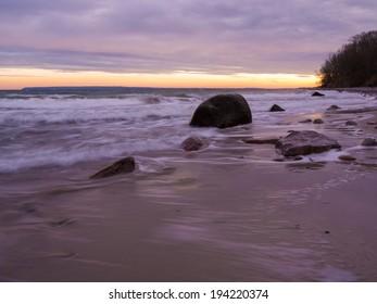 dusk at the Baltic Coast of Ruegen Island in Germany