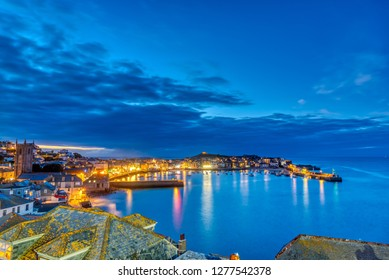 Dusk at the beautiful seaside town of St. Ives in Cornwall, England