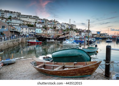Dusk at Brixham harbour an historic fishing port in the Torbay district on the south coast of Devon