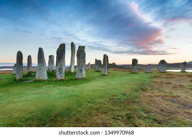 Dusk at the Callanish Stones on the Isle of Lewis in the Western Isles of Scotland