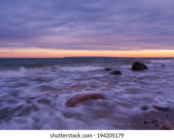 dusk at the chalk coast of Ruegen Island in Germany