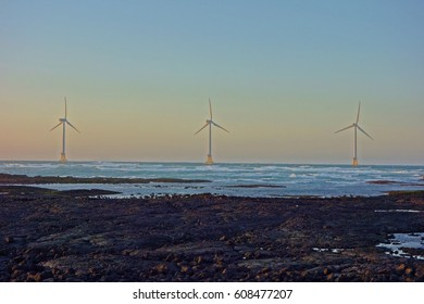 at dusk, coastal windmills view on a sea over basaltic rocks at Sinchang windmill Coast,jeju island,korea,asia